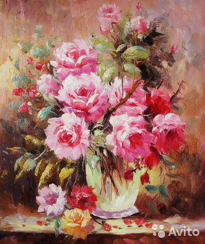 "Картина ""Розы в стеклянной вазе"" (холст ...: https://www.avito.ru/moskva/mebel_i_interer/kartina_rozy_v..."