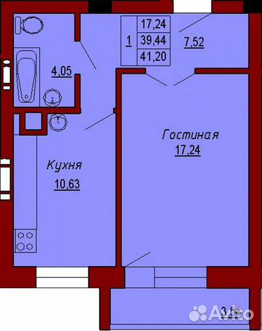 1-к квартира, 41 м², 3/9 эт.