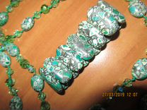 Комплект из зеленого мозаичного агата