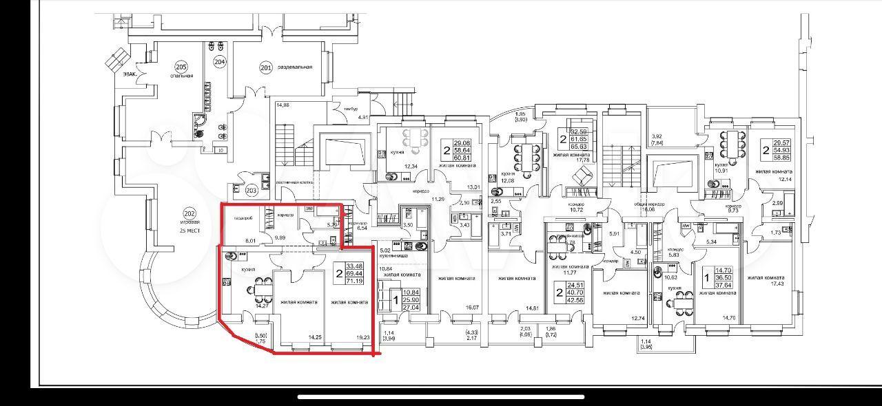 2-к квартира, 71.2 м², 1/10 эт.  89097163321 купить 3