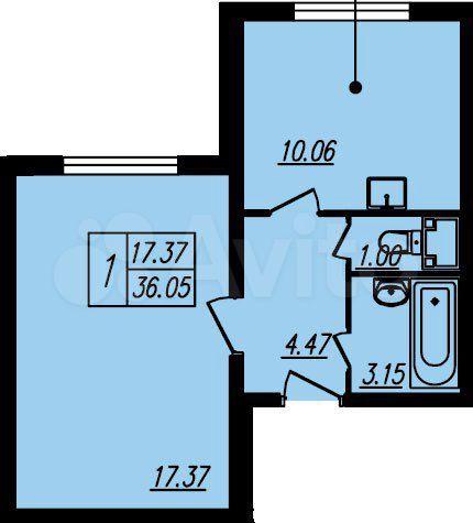 1-к квартира, 36 м², 2/23 эт.  89584131130 купить 2