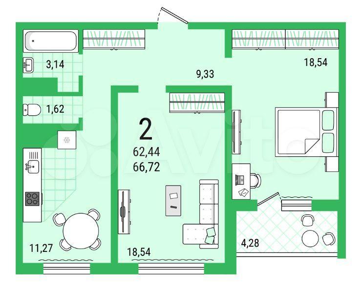 2-к квартира, 66.7 м², 16/25 эт.